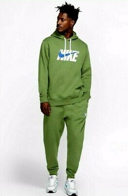 Nike 2020 Mens Fleece Graphic Tracksuit Track Suit Hooded Top & Jogs Set  Green • 74.99£