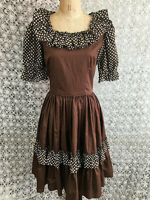 $26 • Buy Vintage 70s Square Dance Dress Brown Polka Dot Ruffled Rockabilly 36 B 29 W