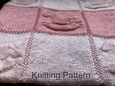 £3.95 • Buy Beginner KNITTING PATTERN Easy Baby Blanket - Rocking Horse, Knit & Purl Only