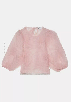 $35.95 • Buy Zara Pink Textured Tulle Top - Salmon Color- Small