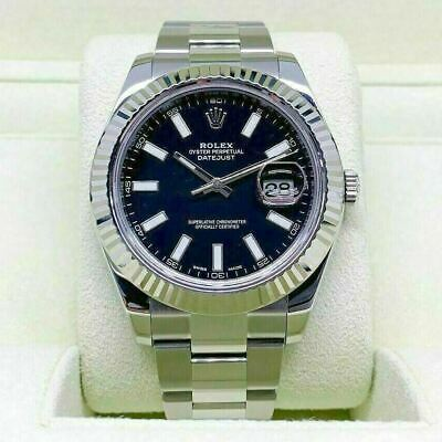 $ CDN11888.88 • Buy Rolex 41MM Datejust II Watch 18K Fluted Bezel Stainless Steel Ref 116334 W Box