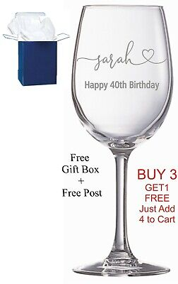 Personalised Engraved Wine Glass Birthday Gift 18th, 21st, 30th, 40th, Boxed • 9.99£