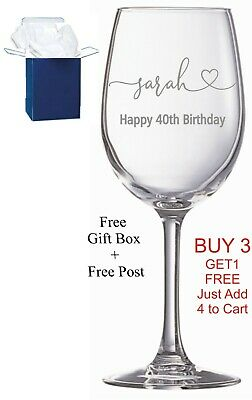 Personalised Engraved Wine Glass Birthday Gift 50th 60th 65th 70th 80th Any Age  • 9.99£
