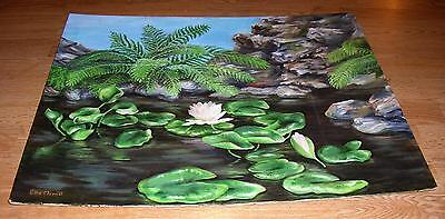$ CDN69245.16 • Buy Vintage Botanical Flowers Lily Pads Pink Lotus Water Garden Ferns Rocks Painting