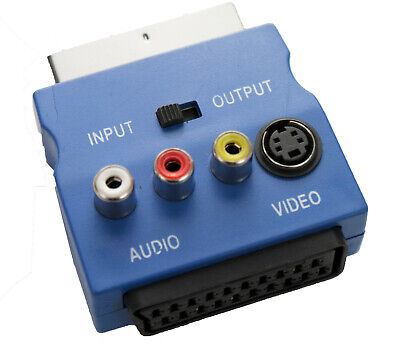 Blue SWITCHED SCART Adapter Audio & SVHS Video With IN/OUT Switch 3 PHONO SOCKET • 3.14£