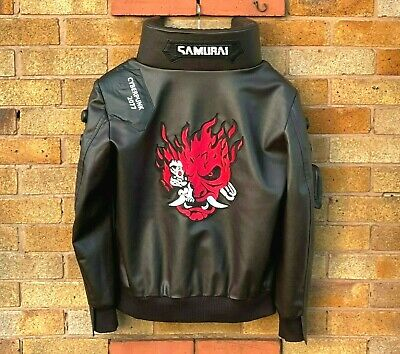 $ CDN191.11 • Buy Cyberpunk 2077 Costume Jacket LED Collar Men's Brown Leather Embroidery Coat