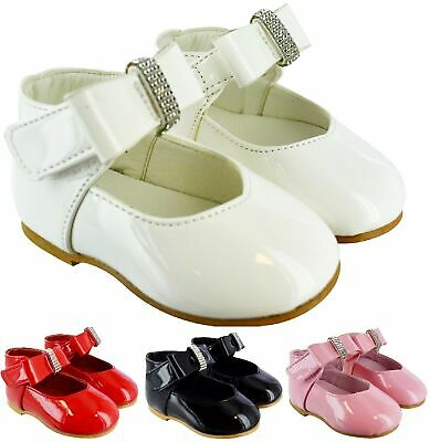 Kids Girls Baby Toodler Diamante Patent Spanish Wedding Party Bow Infants Shoes • 9.99£
