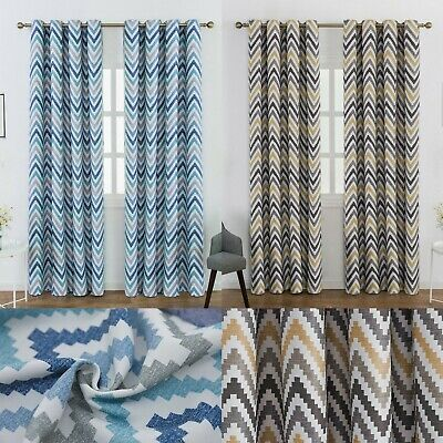 Thermal Blackout Curtains Geometric Nordic Chevron Pattern Eyelet Ring Top • 35£