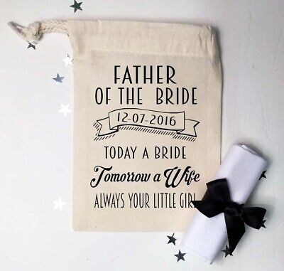 £4.99 • Buy Father Of The Bride / Groom Wedding Handkerchief   Personalised   With Gift Bag