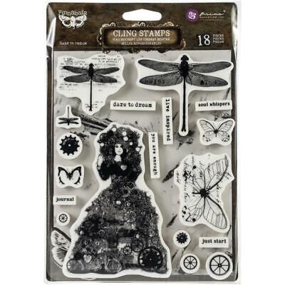 £10.99 • Buy Prima Finnabair Stamps - Dare To Dream Cling Rubber Vintage Dragonfly Butterfly