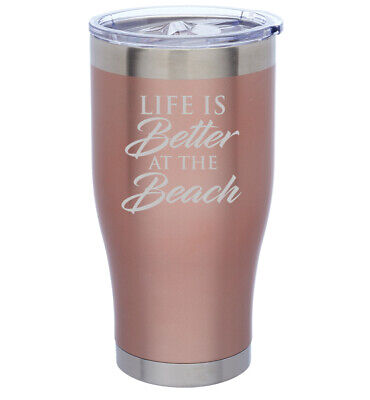 $24.99 • Buy Rose Gold Double Wall Stainless Steel Tumbler Mug Life Is Better At The Beach