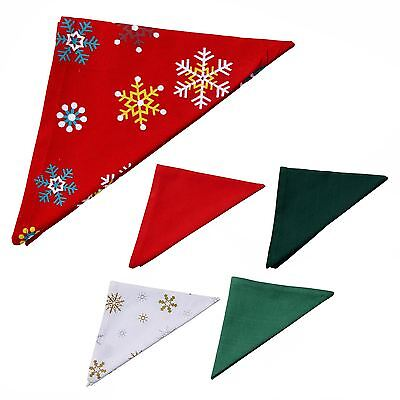 £10.99 • Buy Cotton Fabric Set Of 4 Christmas Napkins Table Tissues Red Green White Snowflake