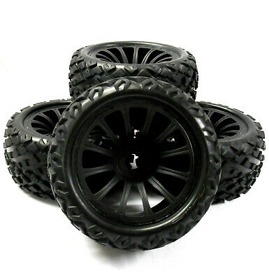 BS910-049x4 1/8 Scale RC Nitro Monster Truck Off Road Wheels Tire Tyres X4 Black • 35£