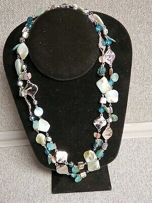 $ CDN20.29 • Buy Lia Sophia Blue Abalone Shells Glass Crystal Beaded Silver Long Chain Necklace