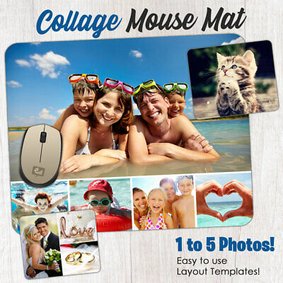 Personalised Custom PHOTO COLLAGE Mouse Mat PC Computer Gaming Picture Pad Gift • 5.49£