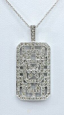 $600 • Buy 1.00 Ct NATURAL DIAMOND Art Deco Inspired Pendant 18k White GOLD Necklace