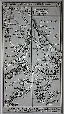 Original Antique Road Map, Cumberland,Lakes, Keswick, Cockermouth, Paterson 1796 • 15£
