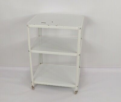 $152.96 • Buy Vintage 50s Metal Cosco Enamel Coated 3 Tiered Rolling Bar Cart Push Cart White