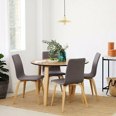 AU549 • Buy Round Oak 5 Piece Dining Set - Round Dining Table + 4 Upholstered Chairs