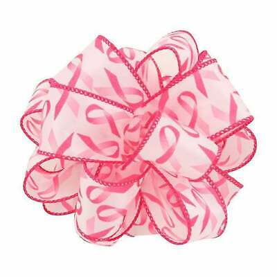 £5.16 • Buy 1-1/2  Wired Breast Cancer Awareness Ribbon - White & Pink
