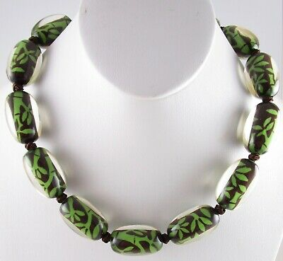 """AU131.92 • Buy Lovely Zsiska """"bamboo"""" Chartreuse Resin Bead Necklace - Nwot"""