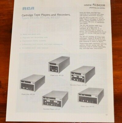 $19.99 • Buy RCA Broadcast Cartridge Tape Players & Recorders RT-125 RT-126 -12 Vtg Brochure