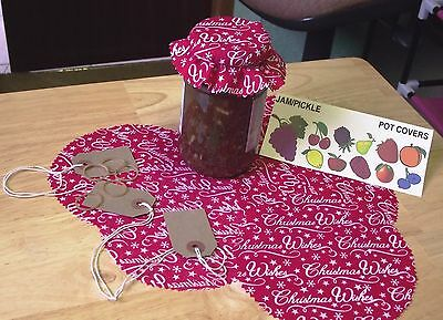 Christmas Wishes Fabric Jam Jar Pot Covers Pinked Edges,labels Bands Free Post   • 3.85£