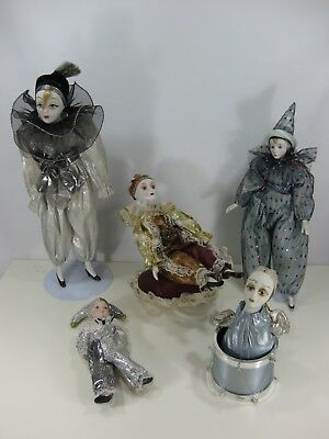 $ CDN12.95 • Buy Harlequin Clown Porcelain Doll Lot Of 5 Musical Motion Music Wind Up