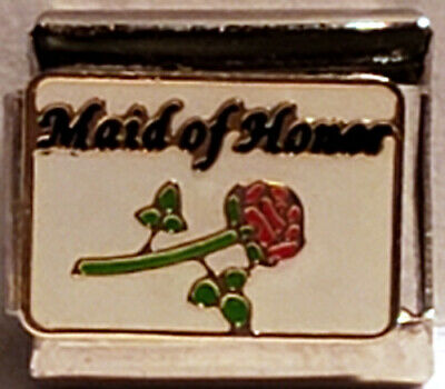 $2.79 • Buy Maid Of Honor W/Rose 9mm Enamel Italian Charm Stainless~Addt'l Charms Ship Free~