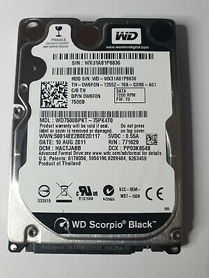 AU79 • Buy WD Scorpio Black HDD WD7500BPKT-75PK4T0 750GB 7200rpm