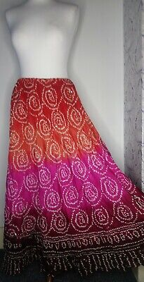 East Skirt 100% Silk Boho Ethnic Peasant Multicolour Maxi Long Gypsy Batik • 34.99£