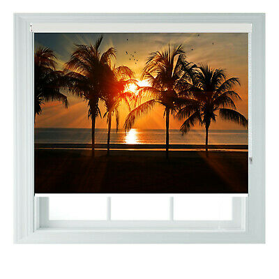 £85 • Buy Palm Sunset Beach Orange Scenic Printed Photo Black Out Roller Blinds 23456ft