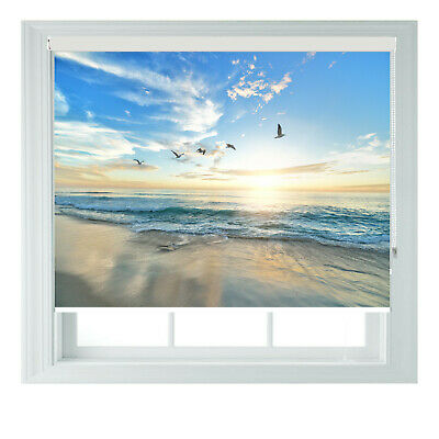 £105 • Buy Seagull Sunset Beach Blue Scenic Printed Photo Black Out Roller Blinds 23456ft