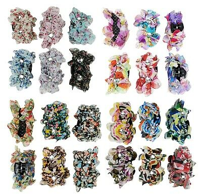 $8.99 • Buy 6 Flower Hair Clip For Women Girl Claw Clip Jaws Comb With Flower Crystal Gem