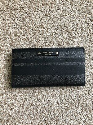 $ CDN89 • Buy Kate Spade Glitter Black Stacey Leather Wallet