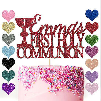 Personalised Name With Cross  Cake Topper Birthday Party First Holy Communion • 2.95£