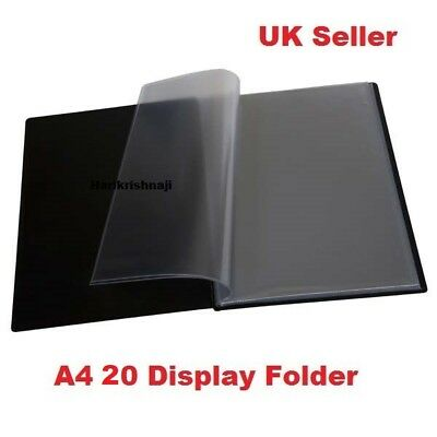 £2.99 • Buy A4 Document Certificate Display Folder With 20 Plastic Transparent Pockets Black