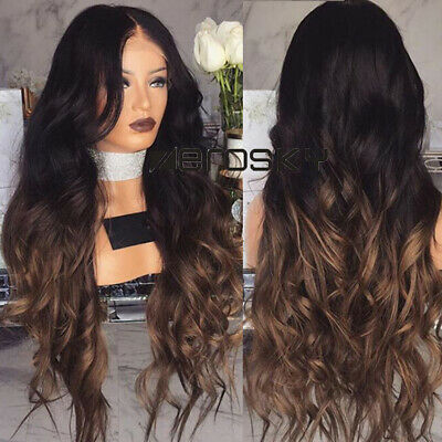 £9.49 • Buy Middle Part Ombre Lace Front Wig Long Wavy Black&Brown Synthetic Wigs For Ladies
