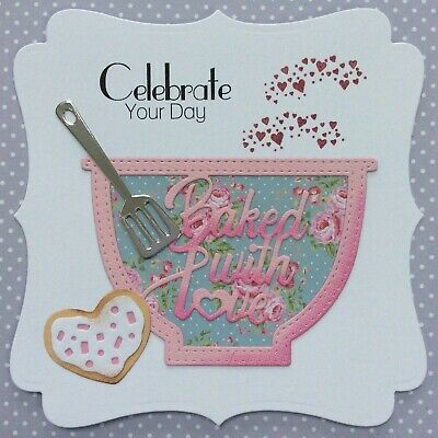 Handmade Luxury Baker Card Topper Baked With Love Cookie Birthday Best Wishes • 1.99£