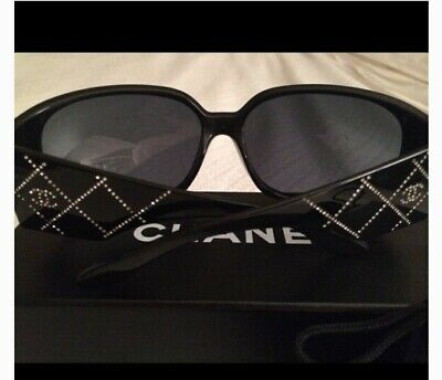 £177 • Buy Chanel Rhinestone Sunglasses Authentic -Brown Bling CC Gold Case