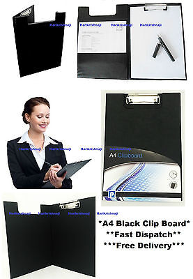 A4 Black Clipboard Solid Fold-Over New Office Document Holder Filling Clip Board • 2.99£