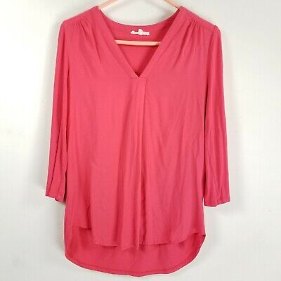 $ CDN10.59 • Buy Anthropologie Pleione 100% Rayon Blouse Womens Xs Pink Roll Tab Sleeve V Neck