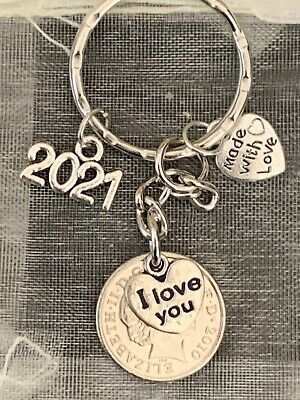 Polished 2010 5p Coin & Charms 10th Wedding Anniversary Keyring In Gift Bag • 6.99£