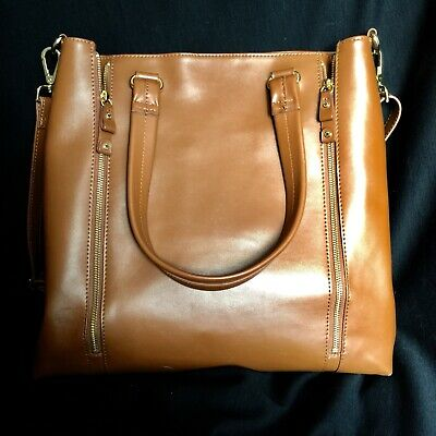 $ CDN62.99 • Buy Danier Leather Caramel Handbag Genuine Leather Purse Tablet Bag Travel
