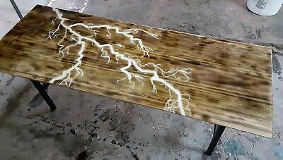 $650 • Buy Live Edge River Table Epoxy Resin Coffee Table Crafted Rivers Lighting Table