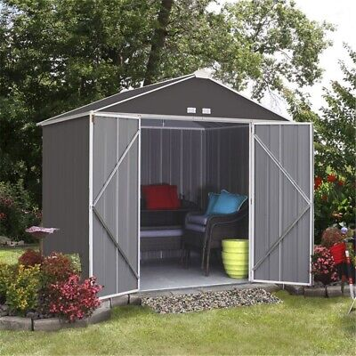 RETURN - 7ft X 8ft (2.18m X 2.38m) Double Door Galvanised Steel Metal Shed • 104£