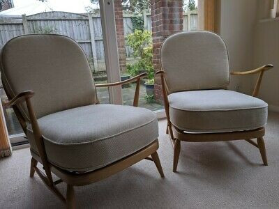 Pair Of Vintage Ercol Windsor 203 Armchairs In Light Wood - Re-upholstered • 895£
