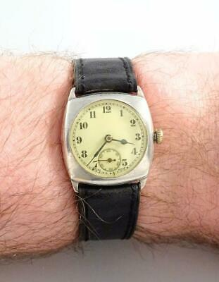 VINTAGE 1920s STERLING SILVER CUSHION TRENCH WATCH - TEMPUS 144 15J - RUNNING • 26£
