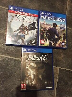 Watchdogs 2, Assassins Creed Black Flag, & Fallout 4 For PS4 • 22.99£