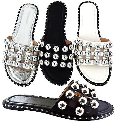 £13.99 • Buy Ladies Womens Studded Sliders Flat Summer Cage Studs Slides Mules Sandals Shoes